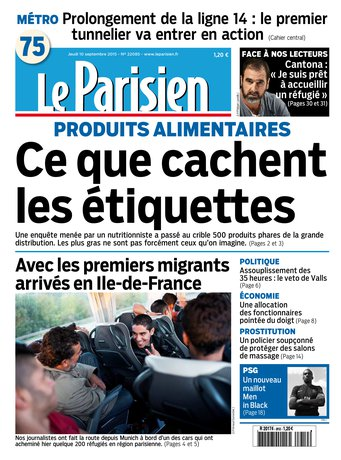 Le Parisien + Journal de Paris du jeudi 10 septembre 2015
