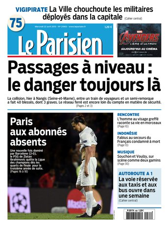 Le Parisien + journal de Paris du mercredi 22 avril 2015