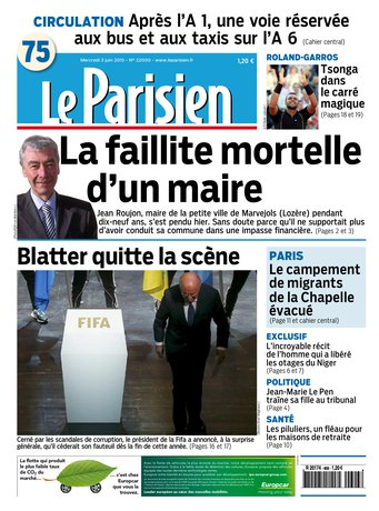 Le Parisien + Journal de Paris du mercredi 03 juin 2015