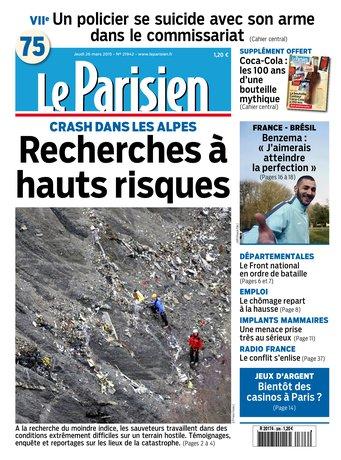 Le Parisien + Journal de Paris du jeudi 26 mars 2015