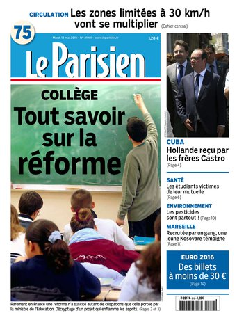 Le Parisien + Journal de Paris du mardi 12 mai 2015