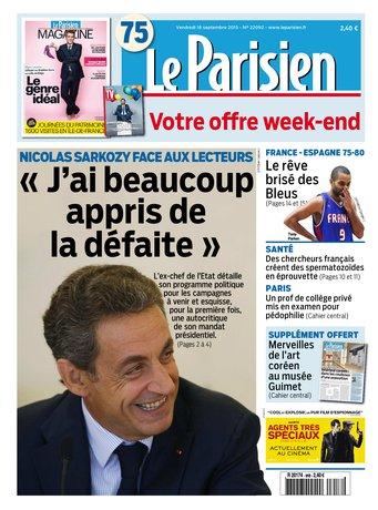 Le Parisien + Journal de Paris & Magazine du vendredi 18 septembre 2015