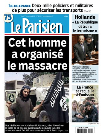 Le Parisien + Journal de Paris du mardi 17 novembre 2015