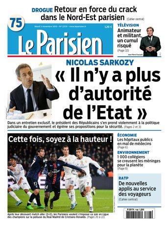 Le Parisien + Journal de Paris du mardi 03 novembre 2015