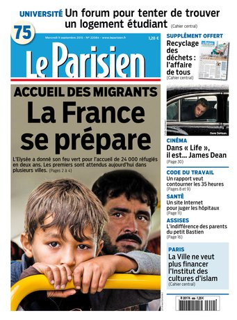 Le Parisien + Journal de Paris du mercredi 09 septembre 2015