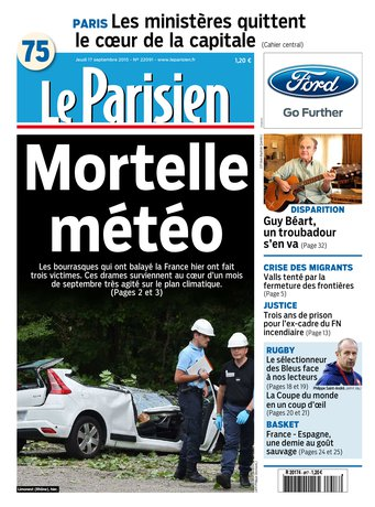 Le Parisien + Journal de Paris du jeudi 17 septembre 2015