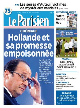 Le Parisien + Journal de Paris & supplément économie du lundi 27 avril 2015