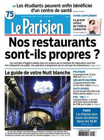Le Parisien + Journal de Paris du samedi 03 octobre 2015