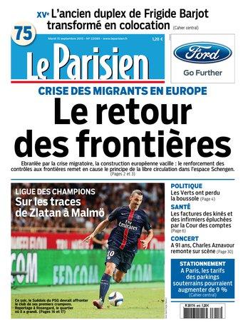 Le Parisien + Journal de Paris du mardi 15 septembre 2015
