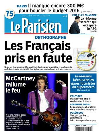 Le Parisien + Journal de Paris du jeudi 11 juin 2015