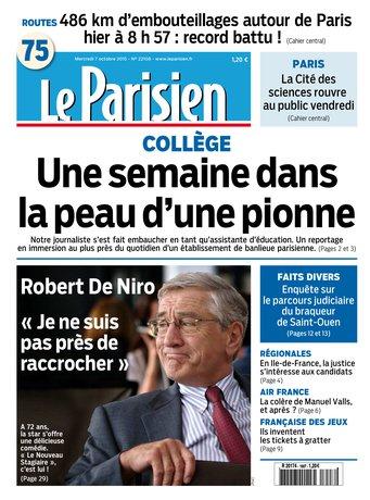 Le Parisien + Journal de Paris du mercredi 07 octobre 2015