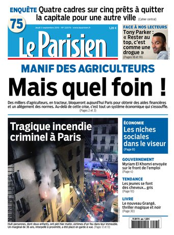 Le Parisien + Journal de Paris du jeudi 03 septembre 2015