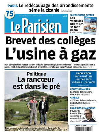 Le Parisien + Journal de Parisdu mercredi 30 septembre 2015