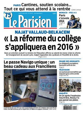 Le Parisien + Journal de Paris du lundi 31 aout 2015