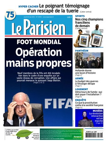 Le Parisien + Journal de Paris du jeudi 28 mai 2015