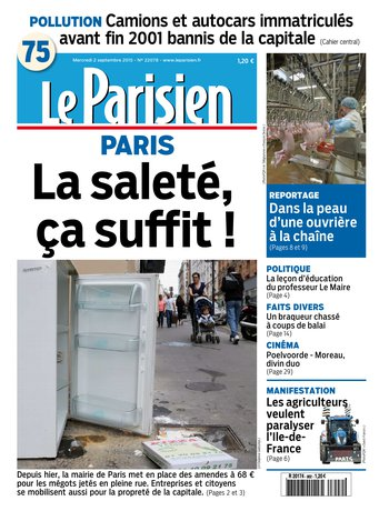 Le Parisien + Journal de Paris du mercredi 02 septembre 2015