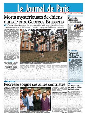 Le Parisien + Journal de Paris du mercredi 19 aout 2015