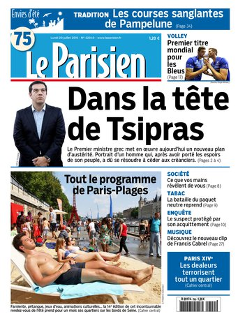 Le Parisien + journal de Paris du lundi 20 juillet 2015