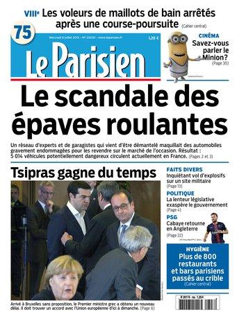 Le Parisien + Journal de Paris du mercredi 08 juillet 2015