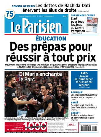 Le Parisien + journal de Paris du mercredi 16 septembre 2015