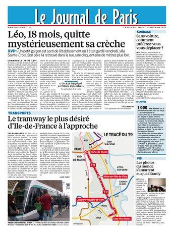 Le Parisien + Journal de Paris du mardi 22 septembre 2015