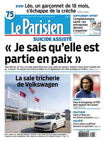 Le Parisien + Journal de Paris du mardi 22 septembre 2015